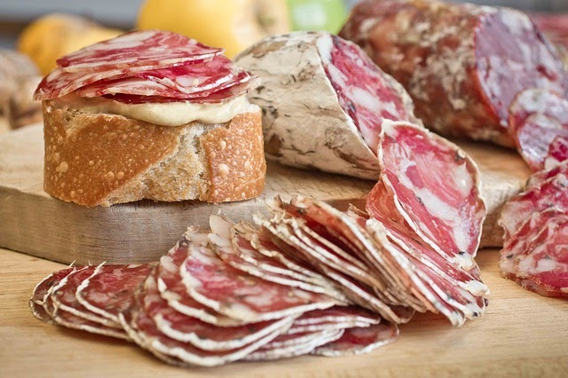 Slices of cured meats