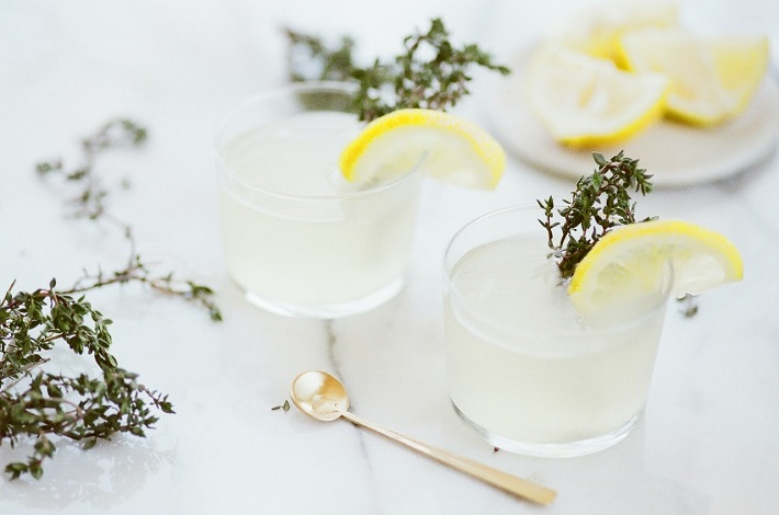 Two glasses filled with vodka garnished with lemon slices and herbs