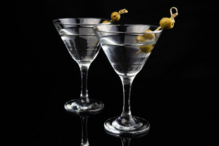 Two vodka martini with olives