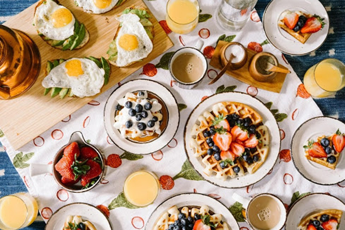 A top view shot of a brunch spread