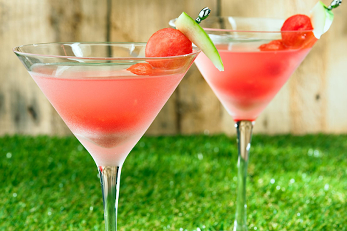 Close up of two Watermelon Martinis