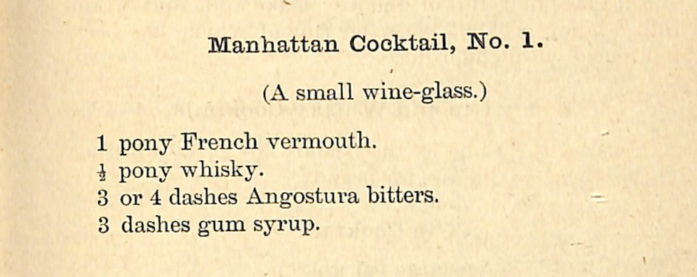 "A shot of the original recipe from the O.H. Byron's""The Modern Bartenders' Guide"