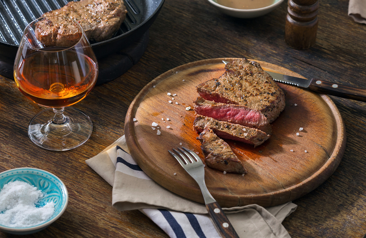 A savoury steak paired with whisky